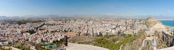 Panorama from Castell Santa Barbara of Alicante ueban area from Royalty Free Stock Photography