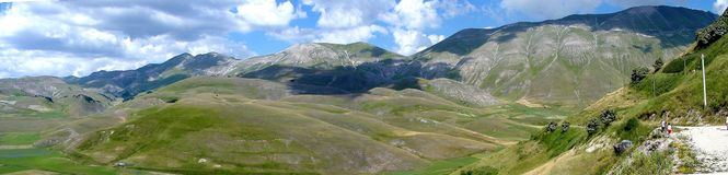 Panorama in castelluccio Royalty-vrije Stock Foto