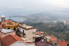 Panorama Castelmola near Taormina with aerial view Sicilian Coast Stock Photography