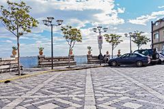 Panorama of Castelmola town main plaza royalty free stock image