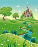 Panorama with castle. Cartoon and vector illustration Stock Photo