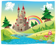 Panorama with castle. Cartoon and vector illustration