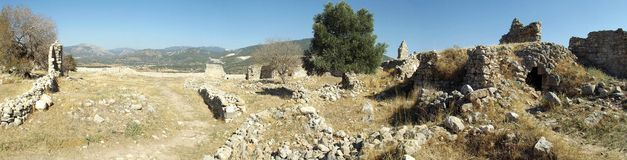 Panorama castle Bechin in Milas, Turkey. The ruins of the castle Bechin in Milas, Turkey Stock Photos