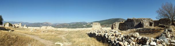 Panorama castle Bechin in Milas, Turkey. The ruins of the castle Bechin in Milas, Turkey Stock Photo