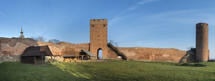 Panorama of the castle of dukes of Mazovia in Czersk. Panorama of the ruins the castle of dukes of Mazovia in Czersk, Poland Stock Photos