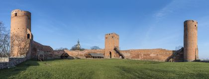 Panorama of the castle of dukes of Mazovia in Czersk. Panorama of the ruins the castle of dukes of Mazovia in Czersk, Poland Stock Photography