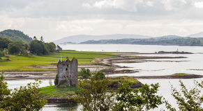Panorama of Castle Stalker, Scotland stock photography