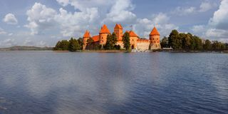 Panorama castle Trakai Royalty Free Stock Photo
