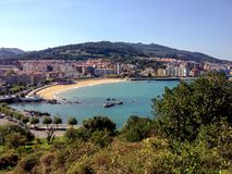 Panorama of Castro Urdiales with sandy beach and blue Cantabrian sea water, Northern coast of Spain stock photo