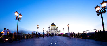 Panorama Cathedral of Christ the Saviour church at evening, Russ Royalty Free Stock Images