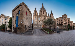 Panorama of Cathedral of the Holy Cross and Saint Eulalia Royalty Free Stock Image
