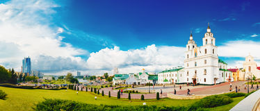 Panorama Of Cathedral Of Holy Spirit In Minsk - The Main Orthodox Church Of Belarus. Stock Photo