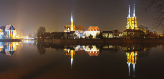 Panorama cathedral island in wroclaw stock photography