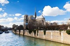 Cathedral Notre Dame de Paris and Seine river Royalty Free Stock Photos