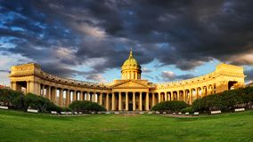 Panorama of Cathedral of Our Lady of Kazan, Russian Orthodox Church in Saint Petersburg stock photo