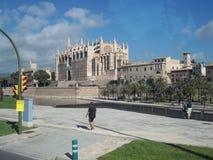 Panorama of the Cathedral.Palma di Maiorca. Stock Image