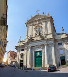 Panorama of the Cathedral of St. Donatus. Mondovi, Italy. August 4, 2016. The facade of the building of the Cathedral of St. Donatus. Mondovi, Italy. August 4 stock photos