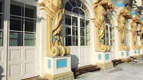 Panorama of Catherine Palace in Pushkin city. Panorama (left-right-left) of detailed front of Catherine Palace in winter in Pushkin (Tsarskoye selo), the environ stock video