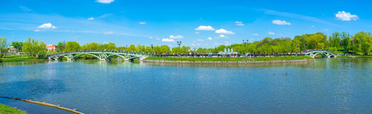 Panorama of Catherine's Island. MOSCOW, RUSSIA - MAY 10, 2015: The Catherine's Island connected to the mainland of Tsaritsyno Park by two scenic arched bridges Stock Photos