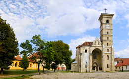 Panorama with catholic church in alba iulia stock image