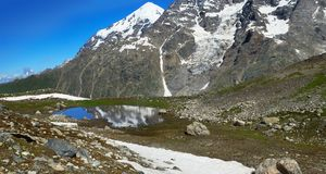Panorama of Caucasian mountains. With lake Royalty Free Stock Photo