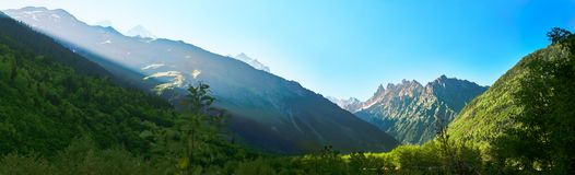 Panorama of Caucasian mountains of Svaneti. On sunset Stock Images