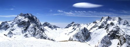 Panorama Caucasus Mountains. Dombaj. View from the ski resort Royalty Free Stock Photos