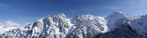 Panorama Caucasus Mountains. High Mountains. Panorama Caucasus Tsey Stock Photography