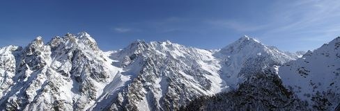 Panorama Caucasus Mountains. High Mountains. Panorama. Caucasus Tsey Stock Images