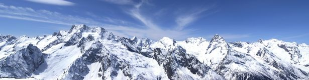 Panorama Caucasus Mountains. Dombay. View from the ski resort Royalty Free Stock Photography