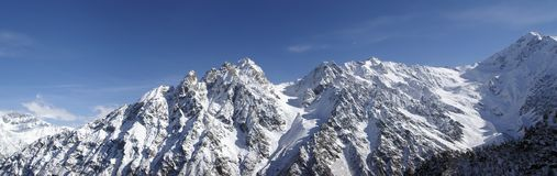 Panorama Caucasus Mountains. High Mountains. Panorama Caucasus Mountains. GorgeTsey Stock Images
