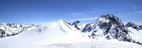 Panorama Caucasus Mountains. Dombay. Ski resort Stock Photos
