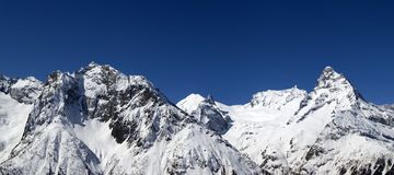 Panorama Caucasus Mountains Stock Photo