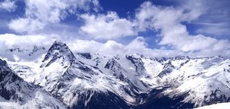 Panorama Caucasus Mountains Royalty Free Stock Images