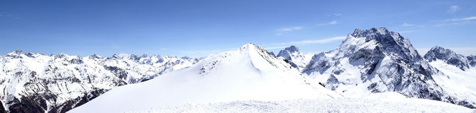 Panorama Caucasus Mountains. Dombaj. Ski resort Royalty Free Stock Image