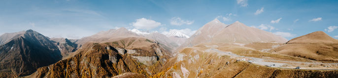 Panorama of the Caucasus mountains in Georgia Stock Photography