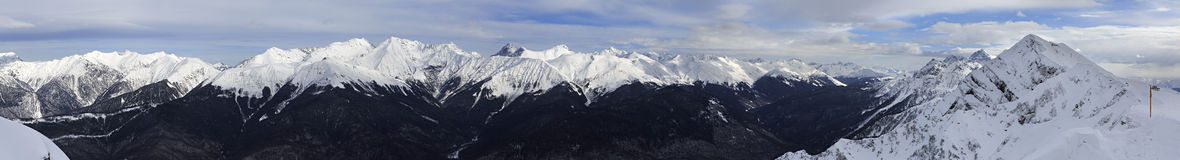 Panorama of Caucasus Mountains in Rosa Khutor Stock Images