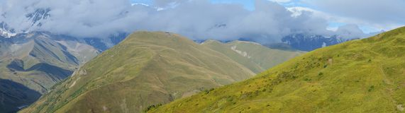 Panorama of Caucasus mountains in Upper Svanetia, Georgia Royalty Free Stock Photos