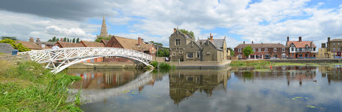Panorama of the Causeway and Chinese Bridge at Godmanchester stock image