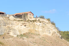 Panorama of the caves and walls. Chufut Kale. Bakhchysaray. Crimea. Royalty Free Stock Photography