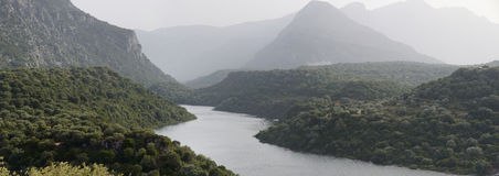Panorama of Cedrino river of Sardinia Stock Images
