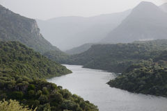 Panorama of Cedrino river of Sardinia Stock Image