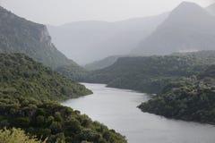 Panorama of Cedrino river of Sardinia. Scenic panorama of Cedrino river of Sardinia Stock Image