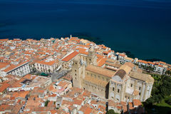 Panorama of Cefalu with cathedral Stock Photography