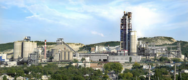 Panorama of a cement plant Stock Images