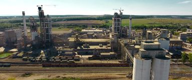 Panorama of the cement plant. Large cement plant. royalty free stock photo