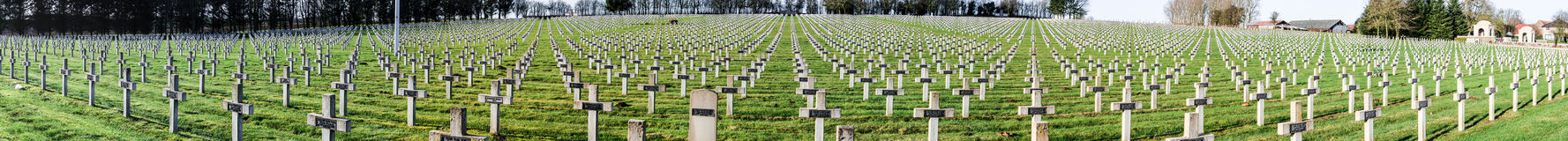 Panorama Cemetery world war one in France Vimy La Targette. Stock Photos