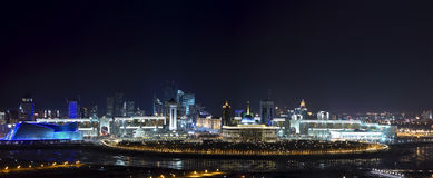 Panorama of the center OF Astana. Panorama of the cultural, commercial and social center of Astana. In the center of the canvas is the presidential palace Stock Photos