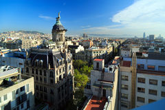 Panorama of the center of Barcelona. Spain. Panoramic view of the center of Barcelona.  Spain Royalty Free Stock Images