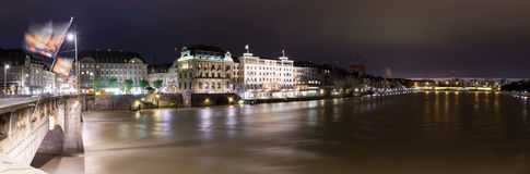 Panorama- central Basel Royaltyfria Bilder
